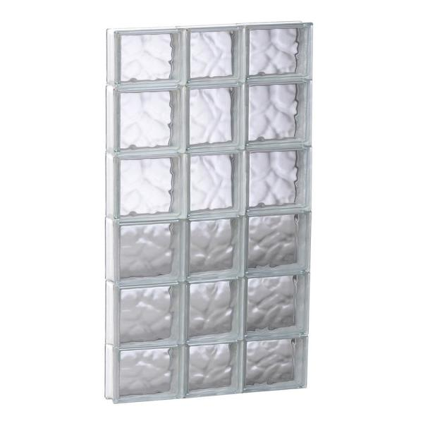 21.25 in. x 42.5 in. x 3.125 in. Frameless Wave Pattern Non-Vented Glass Block Window