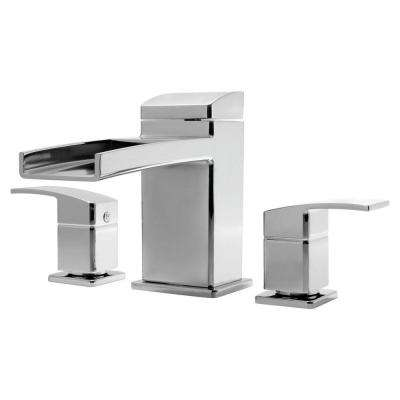 Kenzo 2-Handle Deck Mount Waterfall Roman Tub Faucet Trim Kit in Polished Chrome (Valve Not Included)