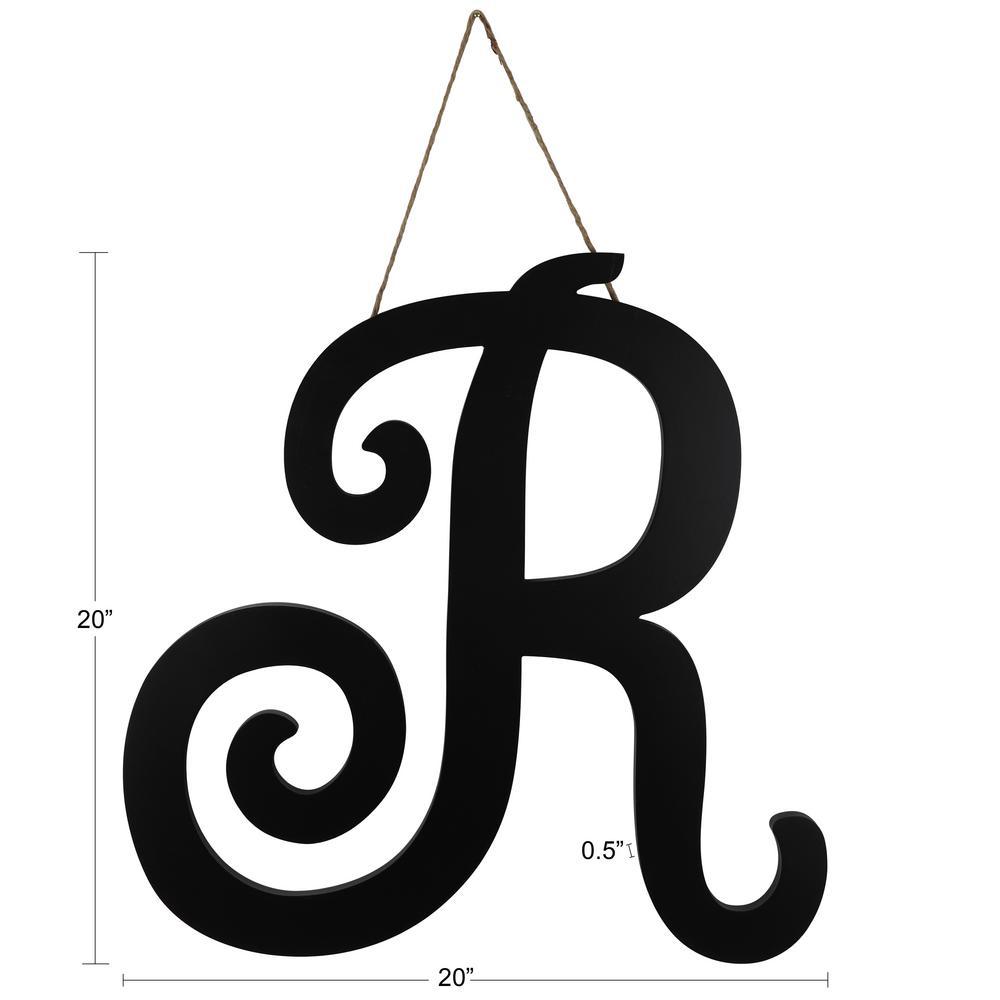 20 in. Black R Script letter