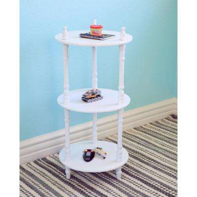 3-Tier Round White Decorative Etagere Shelf