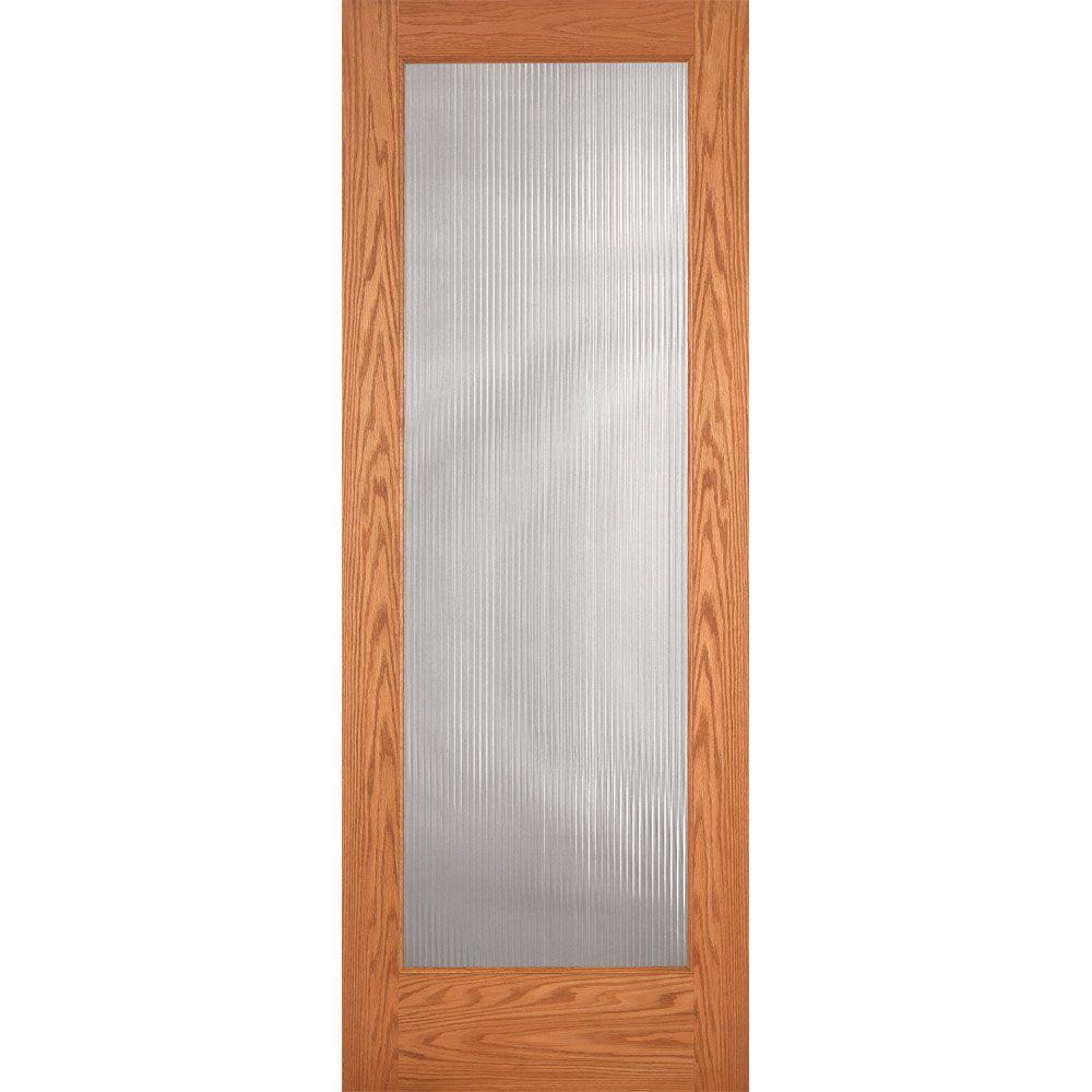 Feather River Doors 36 in. x 80 in. Reed Woodgrain 1 Lite Unfinished Oak Interior Door Slab