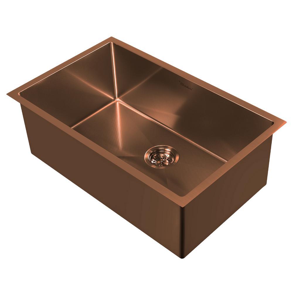 Noah Plus Dual Mount Stainless Steel 29 in. Single Bowl Kitchen Sink in Copper Sink Kit