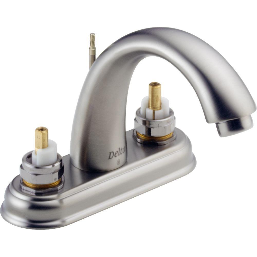 null C-Spout 4 in. 2-Handle High-Arc Bathroom Faucet in Stainless-DISCONTINUED