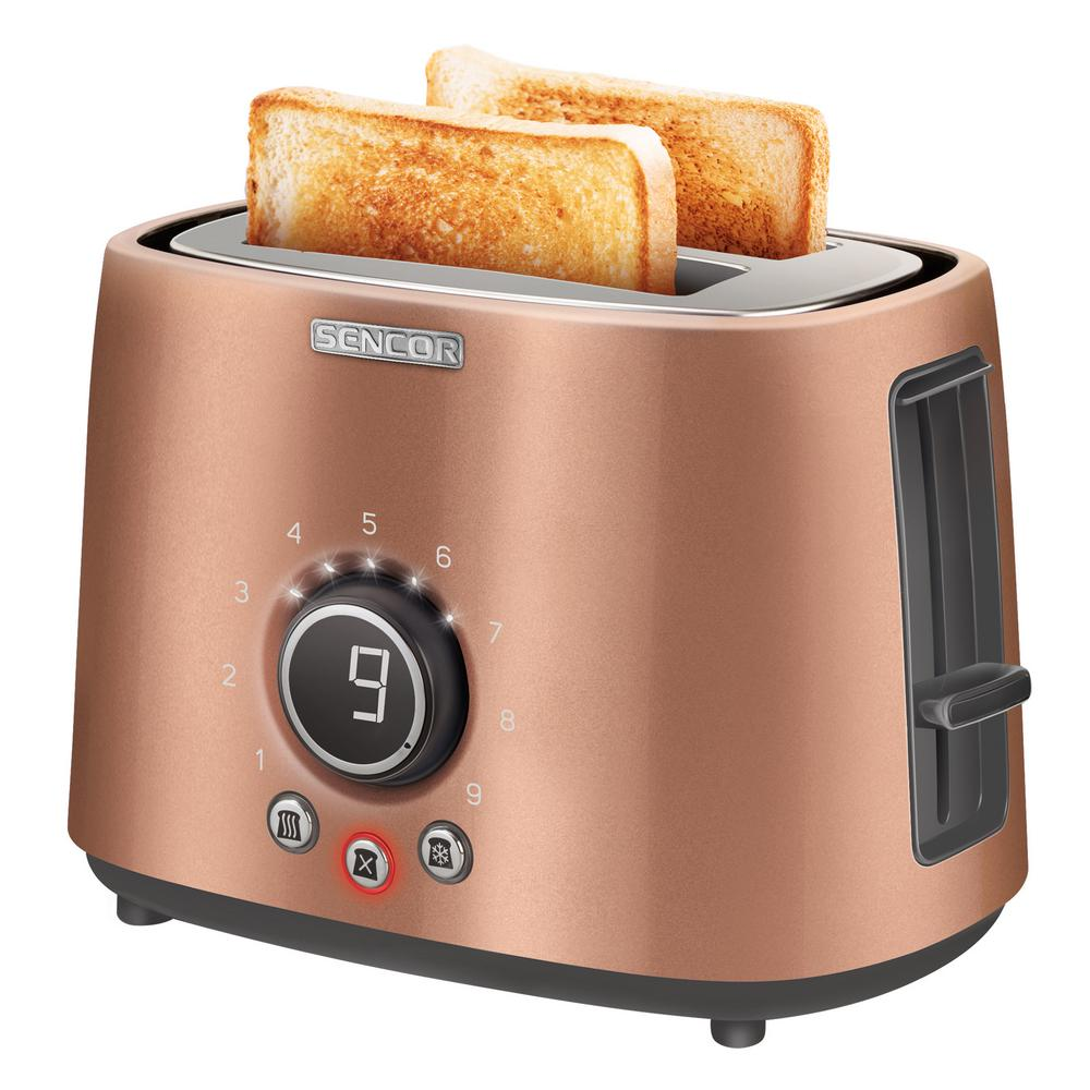800-Watts 2 Slice Gold Long Slot Toaster with Rack