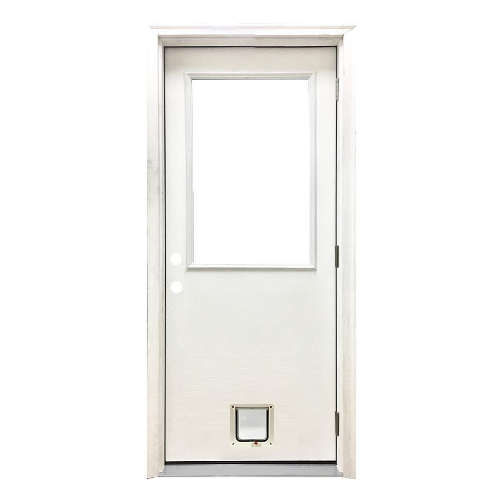 36 in. x 80 in. Classic Half Lite LHOS White Primed Textured Fiberglass Prehung Front Door with Small Cat Door