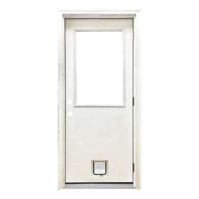 30 in. x 80 in. Classic Half Lite LHOS White Primed Textured Fiberglass Prehung Front Door with Small Cat Door