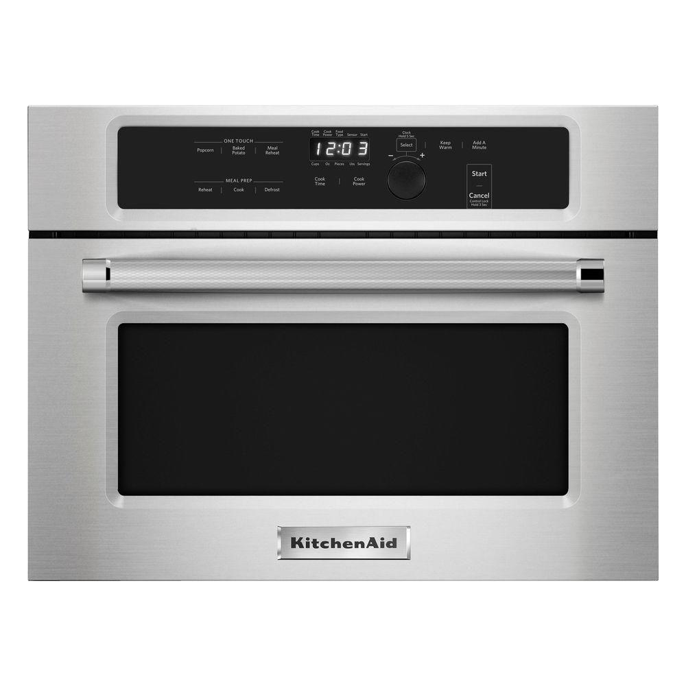 kitchenaid 1 4 cu ft built in microwave in stainless steel kmbs104ess the home depot. Black Bedroom Furniture Sets. Home Design Ideas