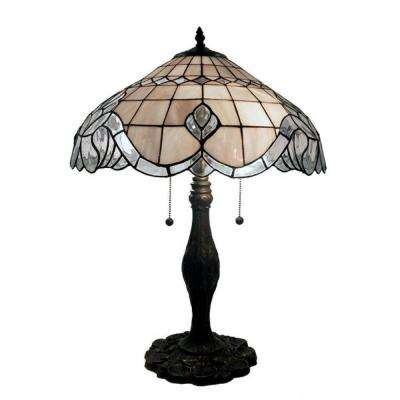 Bronze Table Lamp With Pearl White Baroque