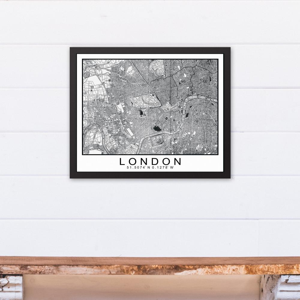 DESIGNS DIRECT 16 in. x 20 in. \'\'London Map\'\' Printed Framed Canvas ...