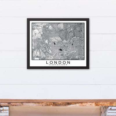 16 in. x 20 in. ''London Map'' Printed Framed Canvas Wall Art