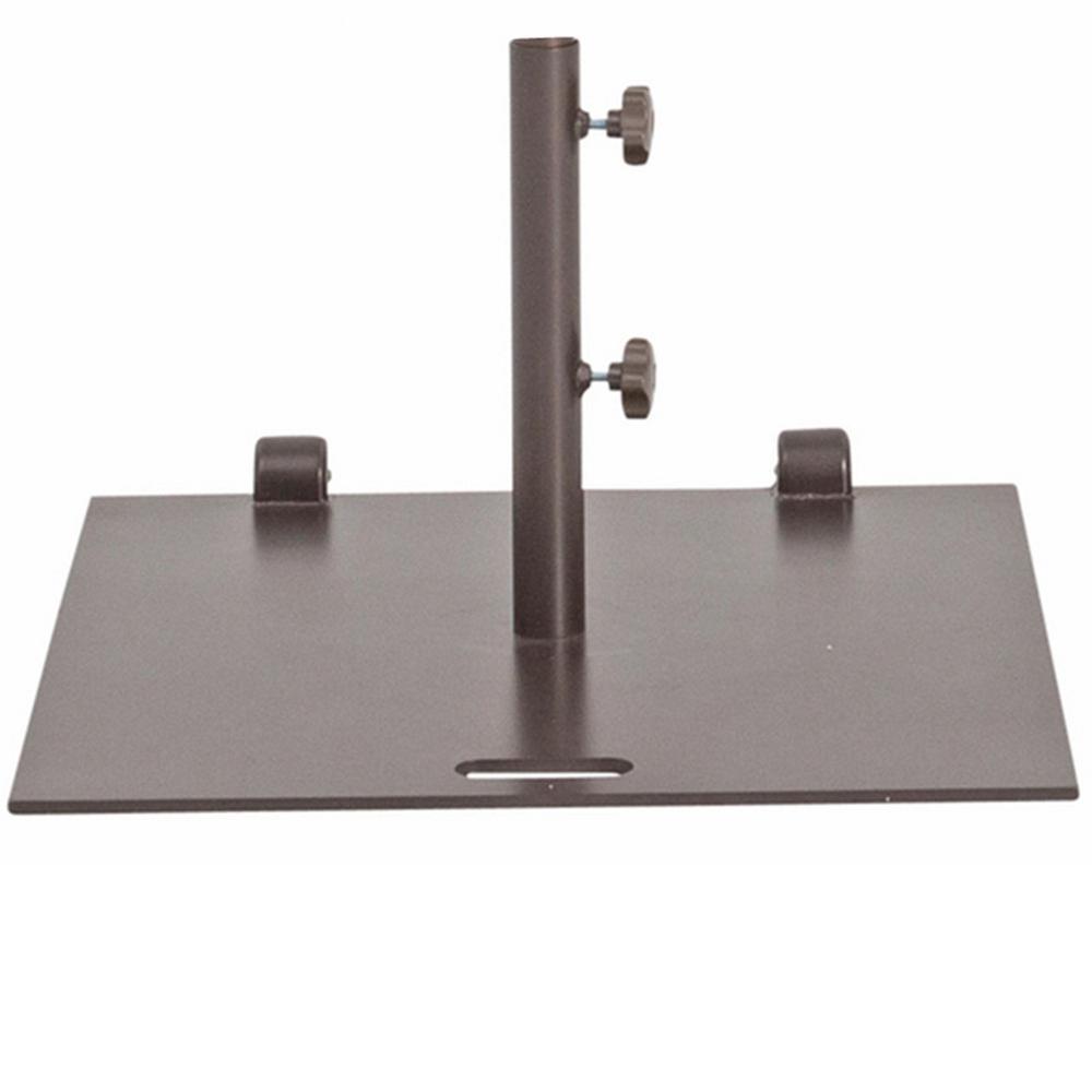 53 lbs. Steel Patio Umbrella Base with Wheels in Bronze