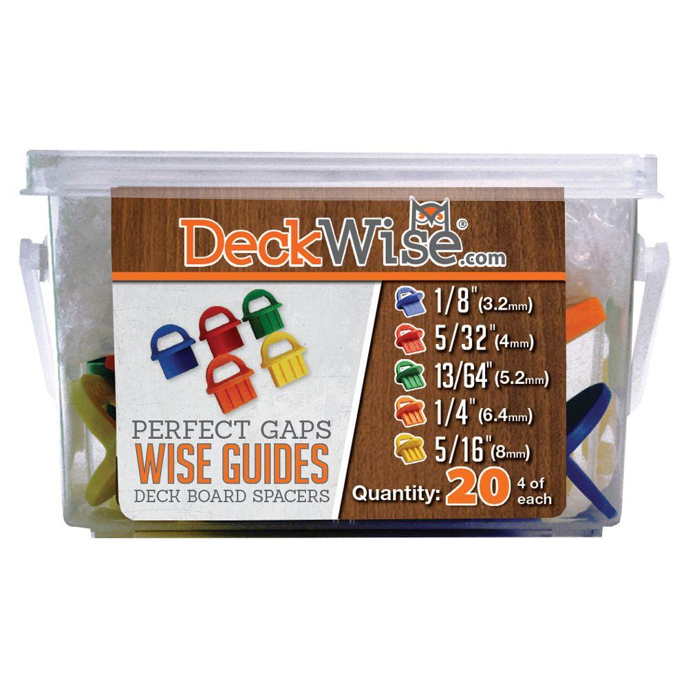 DeckWise WiseGuides 1/8 in., 5/32 in., 13/64 in., 1/4 in., 5/16 in. Assorted Gap Deck Board Spacer Pack for Hidden Deck Fasteners
