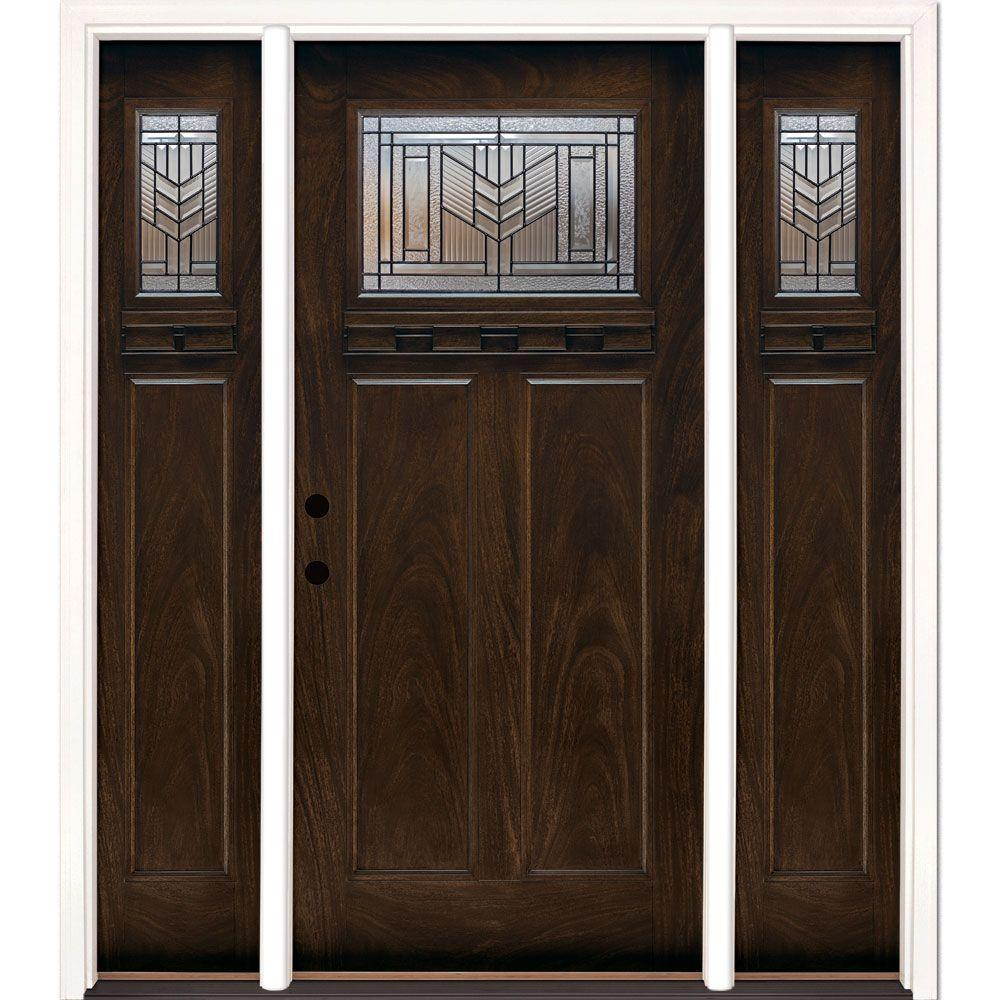 Feather River Doors 67.5 in.x81.625in.Phoenix Patina Craftsman Stained Chestnut Mahogany Right-Hd Fiberglass Prehung Front Door w/ Sidelites