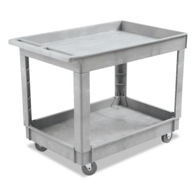 24 in. W x 40d Gray Plastic Resin 2-Shelf Utility Cleaning Cart, 1 Cart/EA
