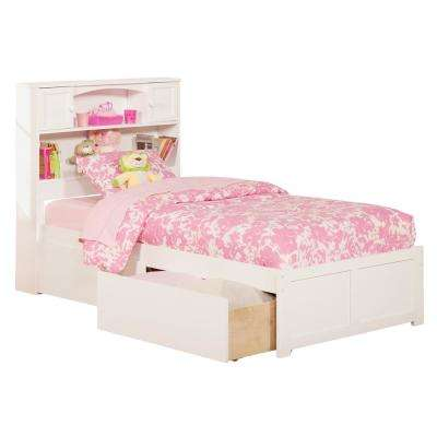 Newport White Twin XL Platform Bed with Flat Panel Foot Board and 2-Urban Bed Drawers