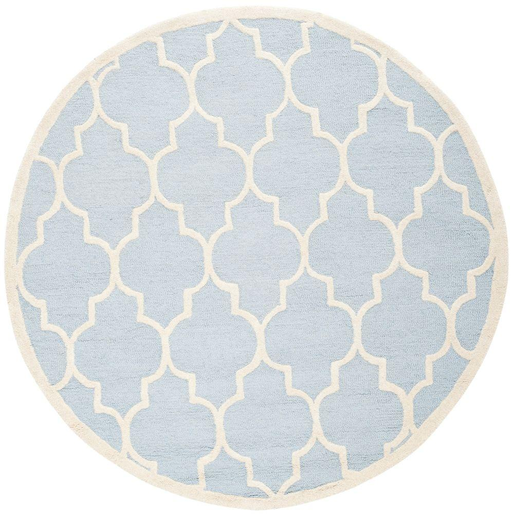 Safavieh Cambridge Light Blue Ivory 8 Ft X 8 Ft Round