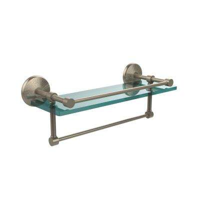 Monte Carlo 16 in. L  x 5 in. H  x 5 in. W Clear Glass Bathroom Shelf with Towel Bar in Antique Pewter