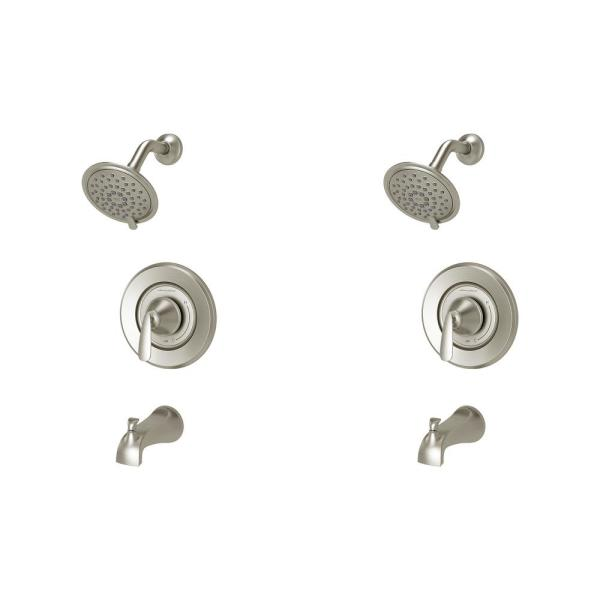 Somerville Single-Handle 3-Spray Tub and Shower Faucet Set of 2 in Brushed Nickel