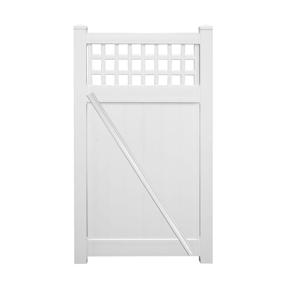 Scottsdale 3.7 ft. W x 5 ft. H White Vinyl Privacy Fence Gate Kit
