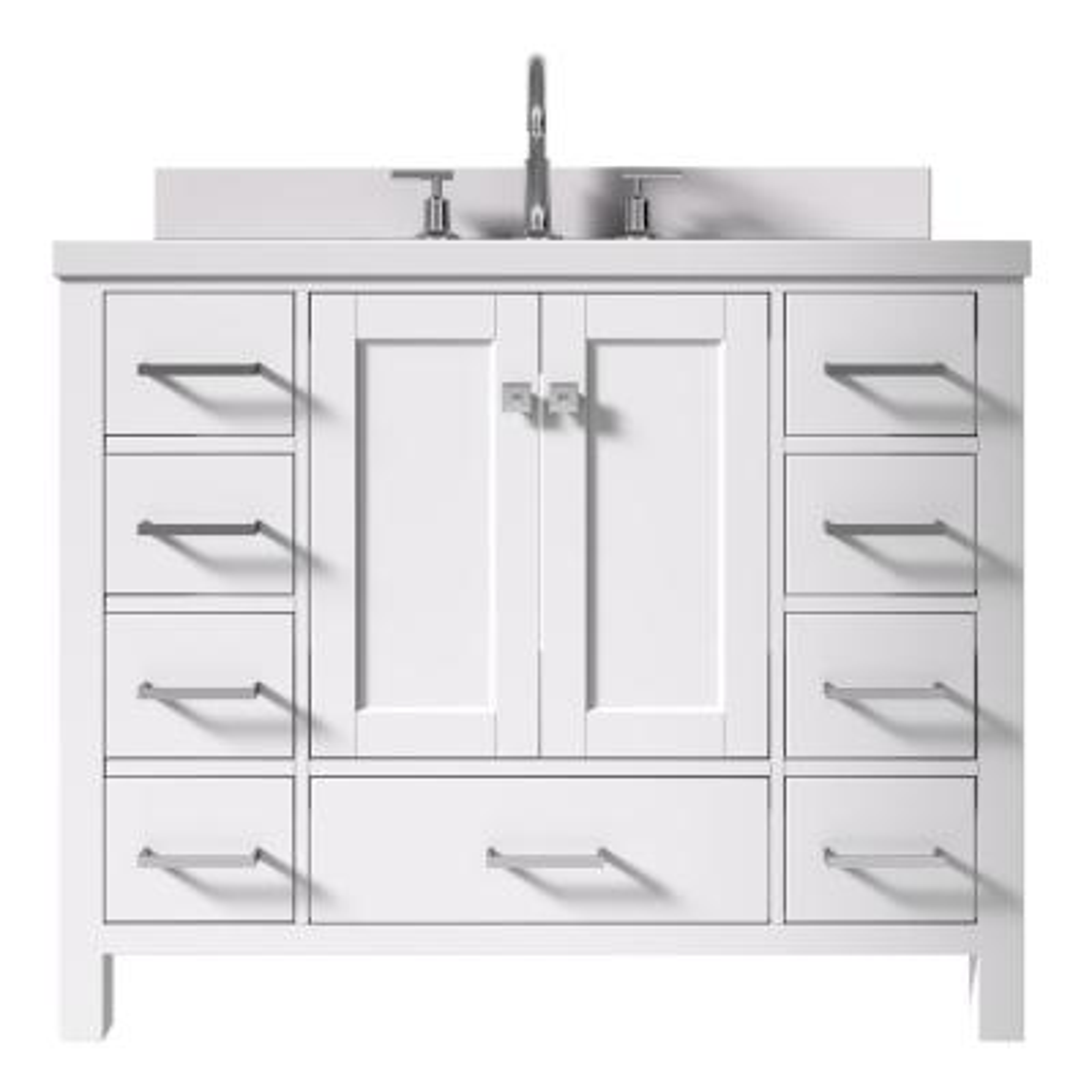 Cambridge 43 in. W x 22 in. D x 35 in. H Vanity in White with Quartz Vanity Top in White with Basin