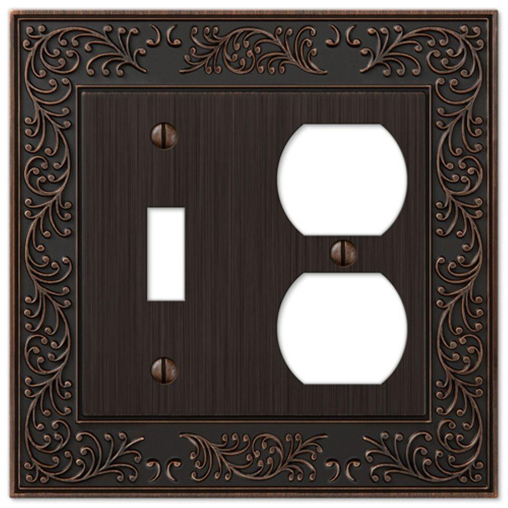 Amerelle English Garden 1 Toggle and 1 Duplex Wall Plate - Aged Bronze