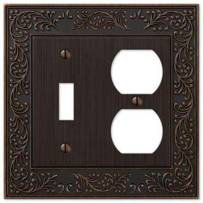 English Garden 1 Toggle and 1 Duplex Wall Plate - Aged Bronze