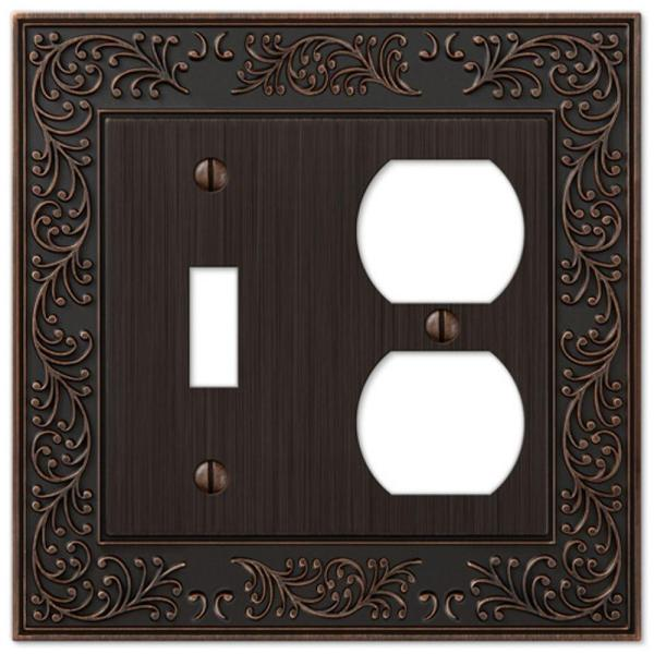 Amerelle Bleinhem 2 Gang 1 Toggle And 1 Duplex Metal Wall Plate Aged Bronze 43tdvb The Home Depot