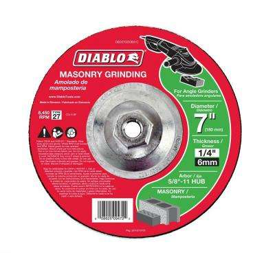 7 in. x 1/4 in. x 5/8 in. 11 Arbor Masonry Grinding Disc with Type 27 Depressed Center Hub
