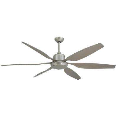 Titan 66 in. Indoor/Outdoor Brushed Nickel Ceiling Fan and Light