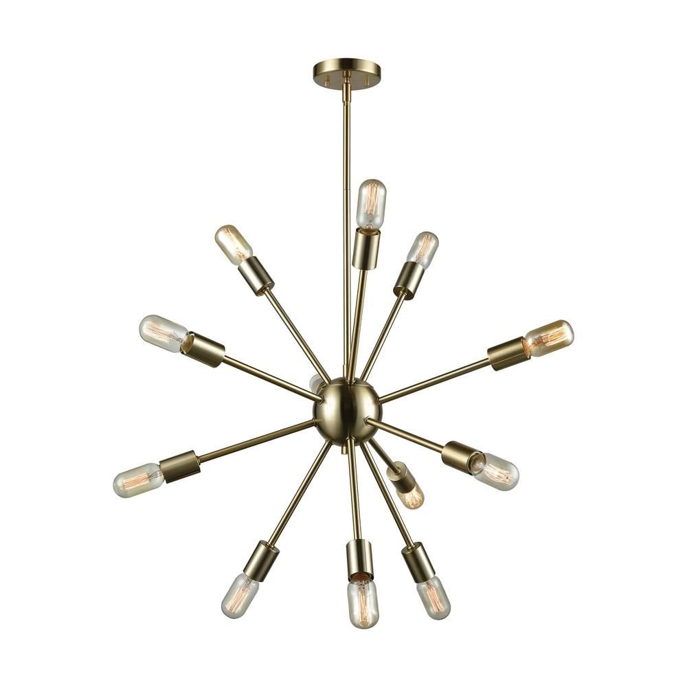 Titan Lighting Delphine 12 Light Large Satin Brass Chandelier