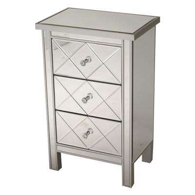 Shelly Assembled 20 in. x 20 in. x 13 in. Silver Wood Accent Storage Cabinet with 3 Mirrored Drawers