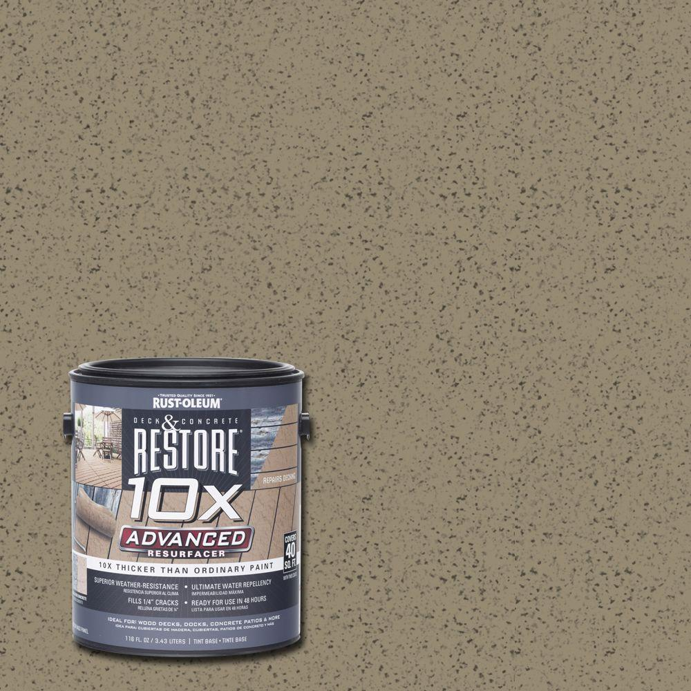 Rust oleum restore 1 gal 10x advanced taupe deck and concrete resurfacer 291506 the home depot for Rustoleum exterior concrete paint