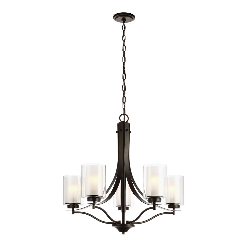Sea Gull Lighting Elmwood 5-Light Heirloom Bronze Chandelier with Satin Etched Glass Shades and LED Bulbs