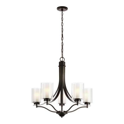 Elmwood 5-Light Heirloom Bronze Chandelier with Satin Etched Glass Shades and LED Bulbs