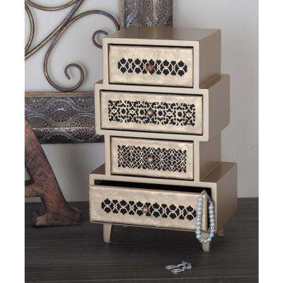 8 in. x 13 in. 4-Drawer Wooden Pale Gold Arabesque Jewelry Box