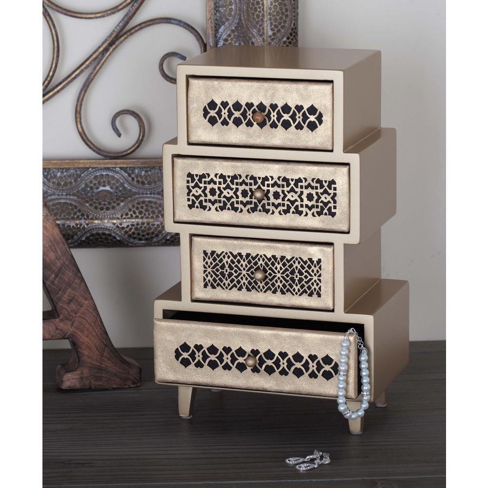 8 in. x 13 in. 4-Drawer Wooden Pale Gold Arabesque Jewelry