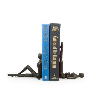 Stretching Ladies Brown Cast Iron Bookends (Set of 2)