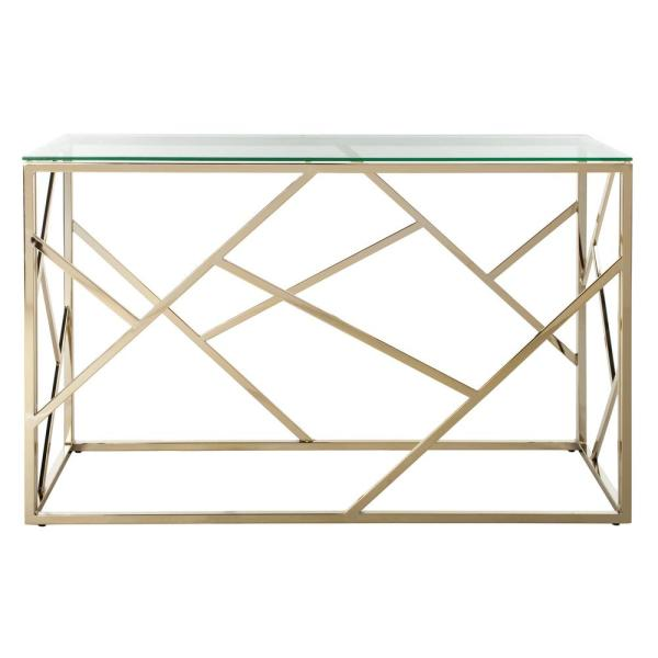 Safavieh Namiko 48 In Clear Brass Standard Rectangle Glass Console Table Cns6202a The Home Depot