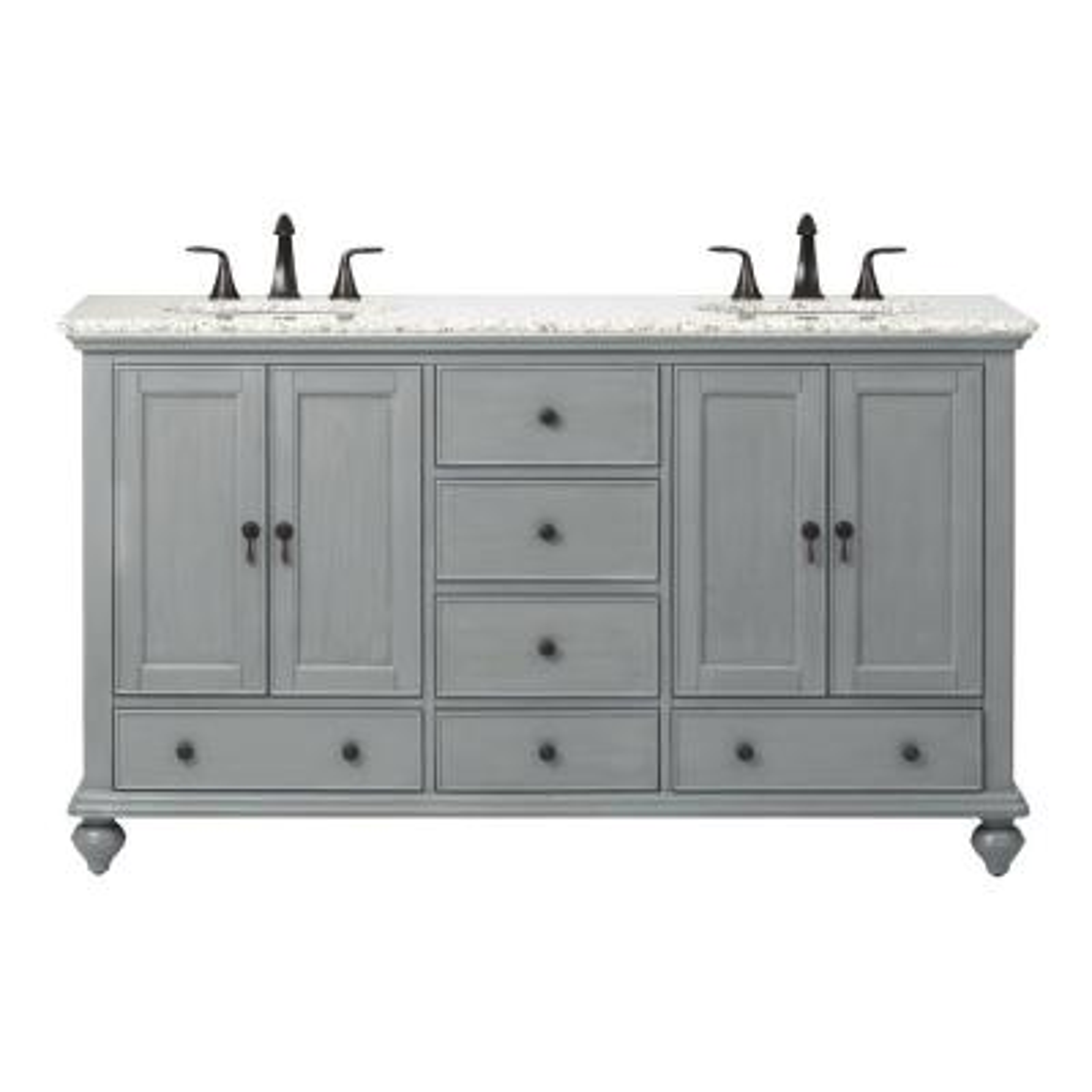 Newport 61 in. W x 21-1/2 in. D Double Bath Vanity in Pewter with Granite Vanity Top in Grey