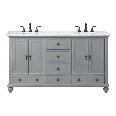 Newport 61 in. W x 21-1/2 in. D Double Bath Vanity in Pewter with Granite Vanity Top in Grey