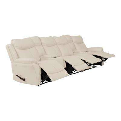 Off-White Almond Tuff Stuff Fabric 4-Seat Wall Hugger Recliner Sofa with 2-Storage Consoles and USB Ports