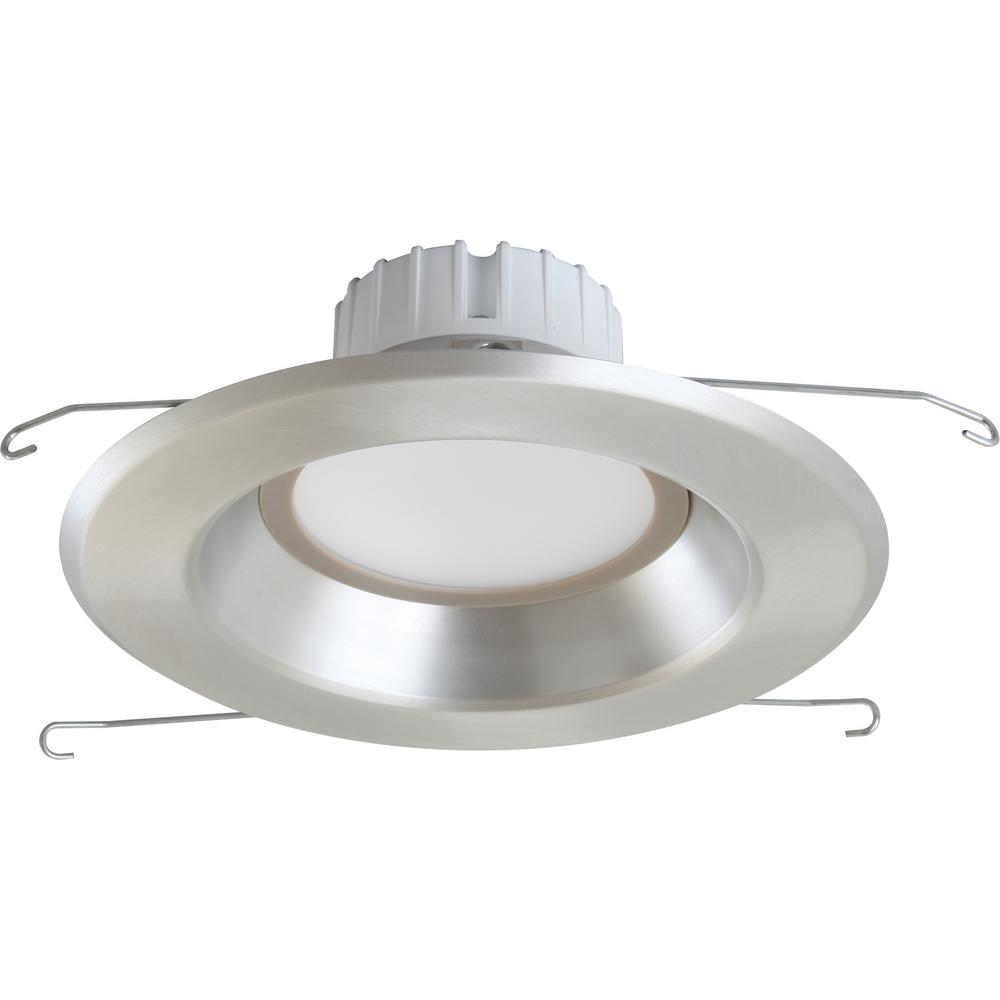 Volume Lighting 1 Light Indoor Outdoor 6 In 3000k Brushed Nickel Integrated Led Recessed Retrofit Downlight And Round Trim Lens