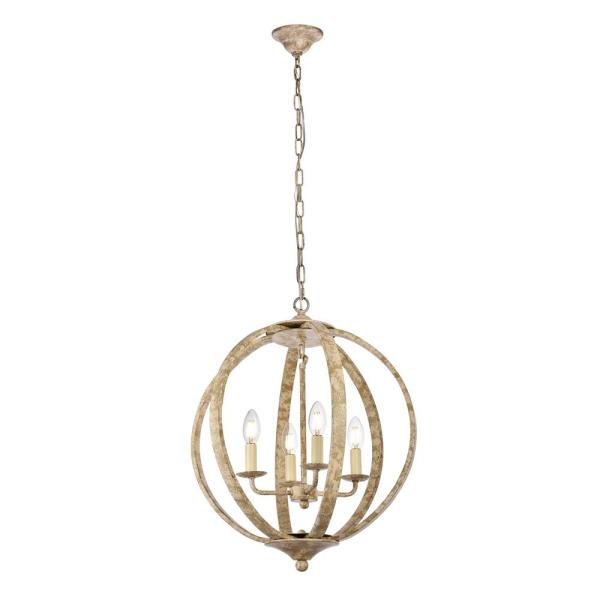 Timeless Home Marcel 18 in. W x 22.5 in. H 4-Light Weathered Dove Pendant