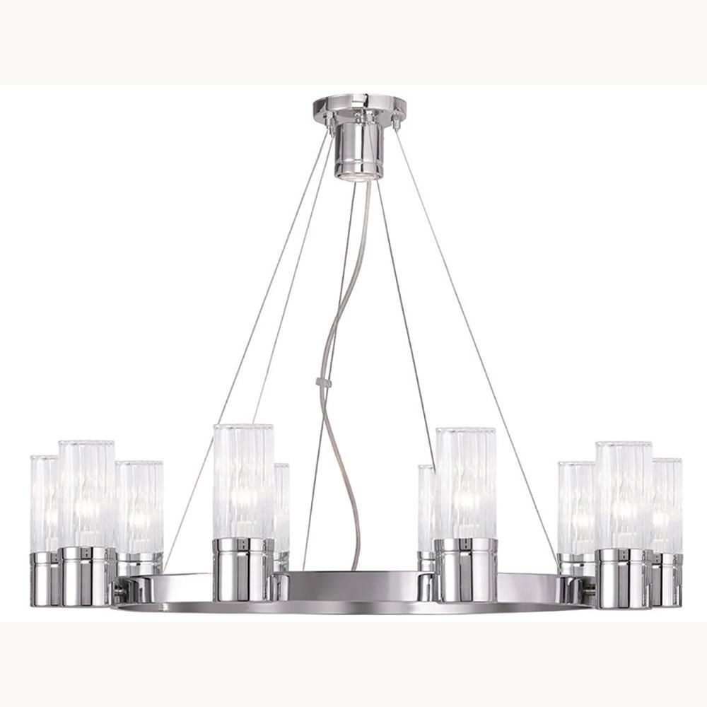 Midtown 10-Light Brushed Nickel Chandelier with Hand Crafted Clear Fluted Glass