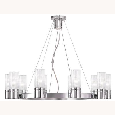 Midtown 11-Light Brushed Nickel Chandelier with Hand Crafted Clear Fluted Glass Shades