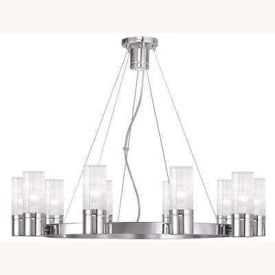 Midtown 10-Light Brushed Nickel Chandelier with Hand Crafted Clear Fluted Glass Shade