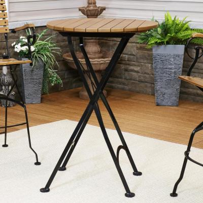 28 in. Brown Round Wood Bar Height Outdoor High Top Table