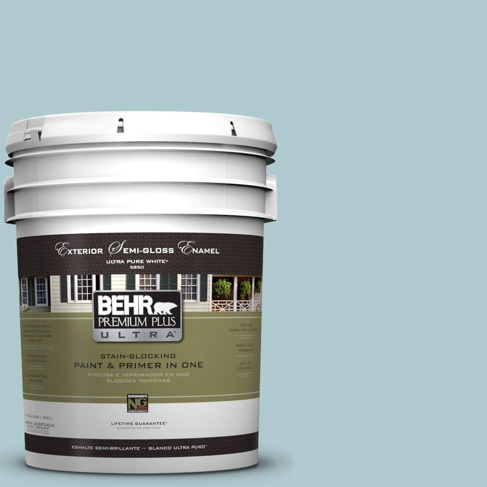 BEHR Premium Plus Ultra 5-gal. #HDC-SM14-8 Floating Blue Semi-Gloss Enamel Exterior Paint