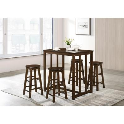 Espresso 5-Piece Dining Table Set High Table Set with 4-Bar Stools
