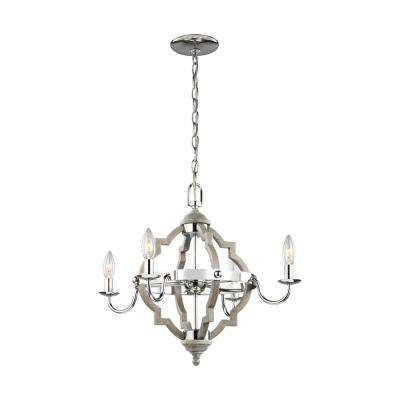 Socorro 22 in. W 4-Light Washed Pine Chandelier with LED Bulbs